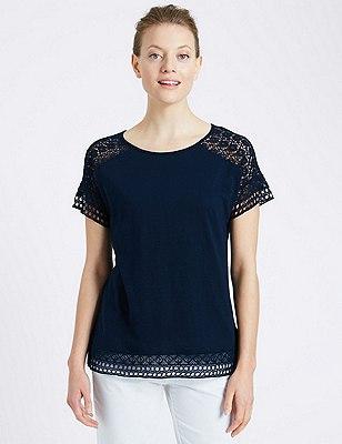 Lace Trim T-Shirt, NAVY, catlanding