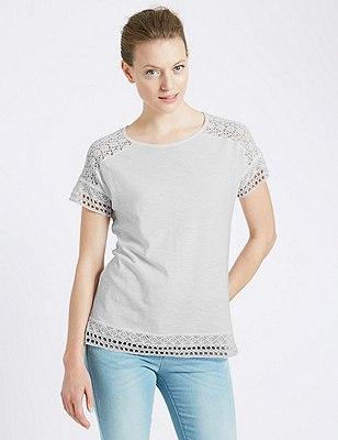 Lace Trim T-Shirt, SOFT WHITE, catlanding