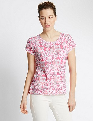 Pure Cotton Tile Print Slouch T-Shirt, PINK MIX, catlanding
