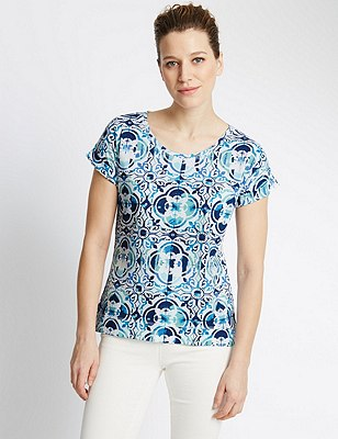 Pure Cotton Tile Print Slouch T-Shirt, BLUE MIX, catlanding