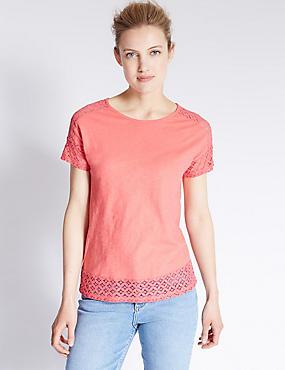 Pure Cotton Lace Detail Short Sleeve T-Shirt, CORAL, catlanding