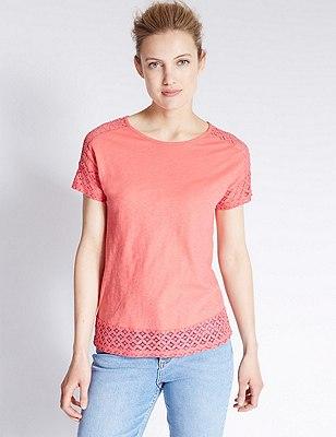 Pure Cotton Tailored Fit Lace Trim T-Shirt , CORAL, catlanding
