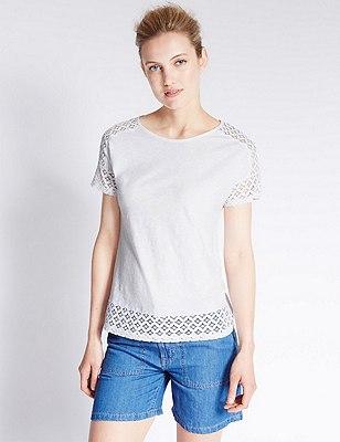 Pure Cotton Tailored Fit Lace Trim T-Shirt , SOFT WHITE, catlanding