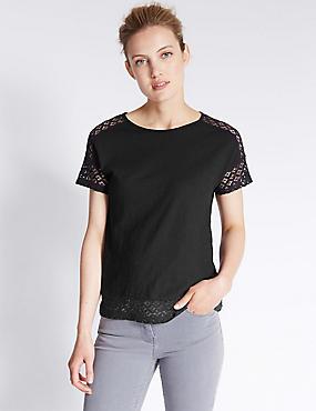 Pure Cotton Lace Detail Short Sleeve T-Shirt, BLACK, catlanding