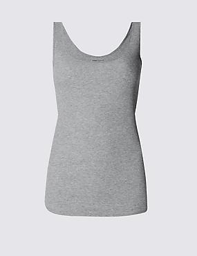 Cotton Blend Scoop Neck Vest Top, GREY MARL, catlanding