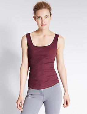 Cotton Blend Scoop Neck Vest Top, DARK CLARET, catlanding