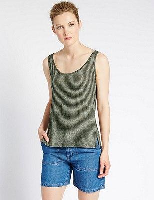Pure Linen Slim Fit Striped Vest Top, KHAKI MIX, catlanding