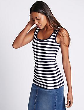Pure Cotton Striped Scoop Neck Vest Top, NAVY MIX, catlanding