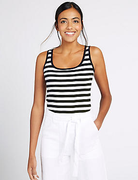 Pure Cotton Striped Scoop Neck Vest Top, NAVY MIX, catlanding