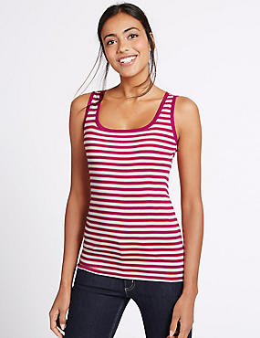 Pure Cotton Striped Sleeveless Vest Top, MULTI, catlanding