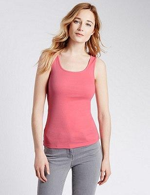 Pure Cotton Vest Top, BRIGHT PINK, catlanding