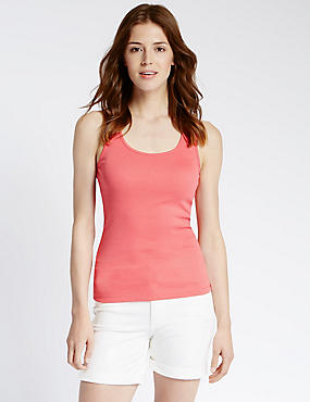 Pure Cotton Scoop Neck Vest Top, WATERMELON, catlanding