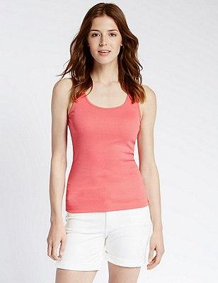 Pure Cotton Vest Top, WATERMELON, catlanding