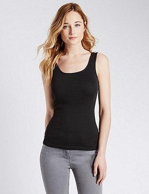 Pure Cotton Vest Top, BLACK, catlanding