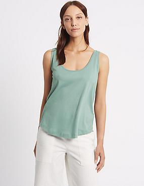 Pure Cotton Scoop Neck Vest Top, DUSTY BLUE, catlanding