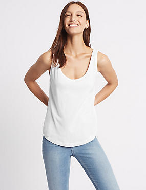 Pure Cotton Scoop Neck Vest Top, WHITE, catlanding