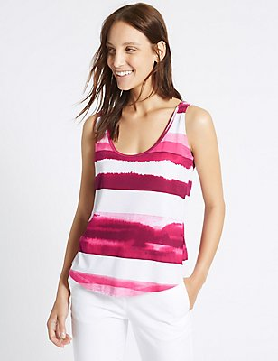 Pure Cotton Printed Sleeveless T-Shirt, PINK MIX, catlanding