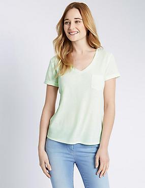 Gestreept T-shirt met V-hals, structuurdessin en linnen, LIMOEN, catlanding