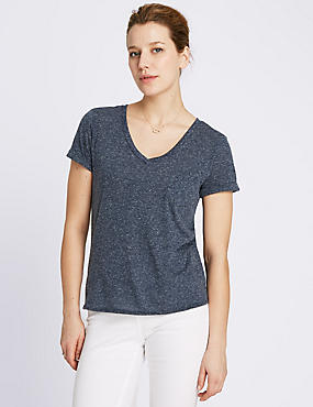 Gestreept T-shirt met V-hals, structuurdessin en linnen, MARINE, catlanding