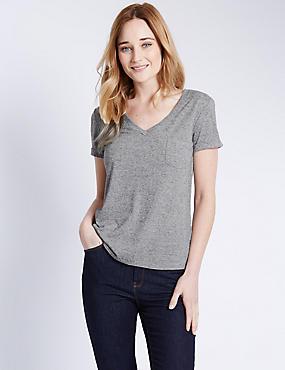 Gestreept T-shirt met V-hals, structuurdessin en linnen, GRIJSWIT, catlanding