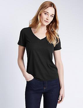 Gestreept T-shirt met V-hals, structuurdessin en linnen, ZWART, catlanding