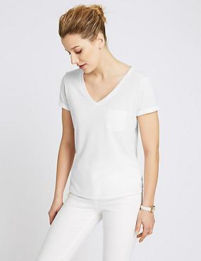 Gestreept T-shirt met V-hals, structuurdessin en linnen, WIT, catlanding