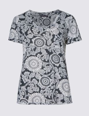 Текстурная футболка с монохромными вихревыми цветами и добавлением льна M&S Collection T411197B