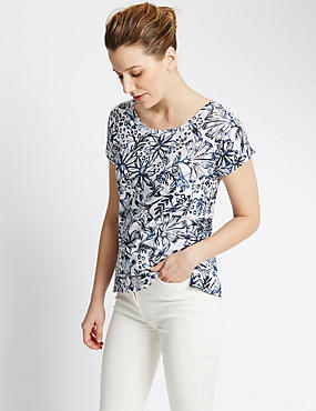 Pure Cotton Dragonfly Print Slouch Top