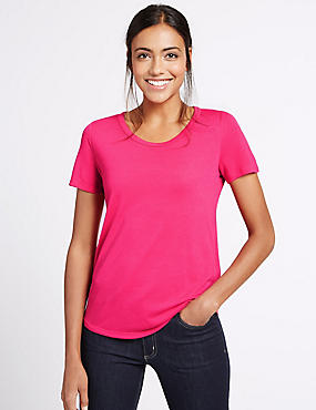 Relaxed Short Sleeve T-Shirt, BRIGHT PINK, catlanding