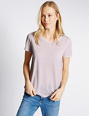 Round Neck Short Sleeve T-Shirt, BLUSH, catlanding