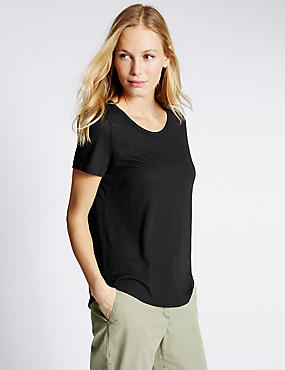 Round Neck Short Sleeve T-Shirt, BLACK, catlanding