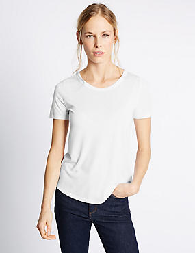 Round Neck Short Sleeve T-Shirt, WHITE, catlanding