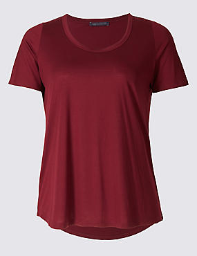 PLUS Round Neck Short Sleeve T-Shirt, CLARET, catlanding