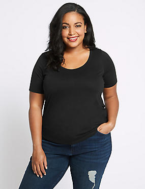 PLUS Round Neck Short Sleeve T-Shirt, BLACK, catlanding