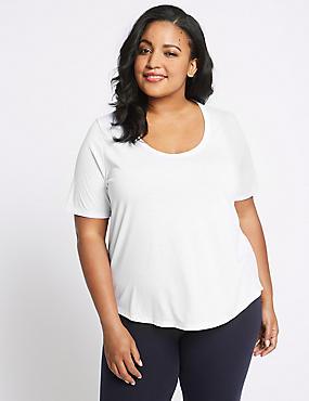 PLUS Round Neck Short Sleeve T-Shirt, WHITE, catlanding