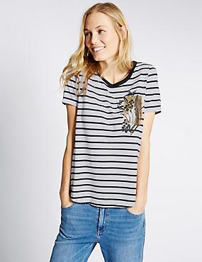 Striped Short Sleeve T-Shirt, NAVY MIX, catlanding