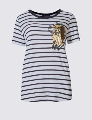 Свободная футболка в полоску с золотым декором M&S Collection T411211A