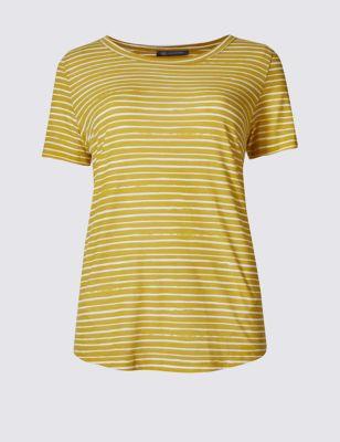 Свободная футболка с коротким рукавом в тонкую полоску M&S Collection T411212A