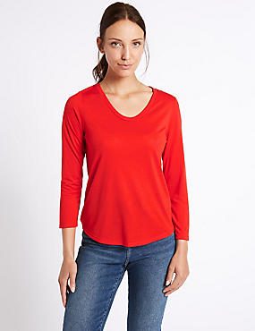 Scoop Neck 3/4 Sleeve T-Shirt, PAPRIKA, catlanding