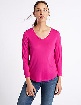 Scoop Neck 3/4 Sleeve T-Shirt, MAGENTA, catlanding