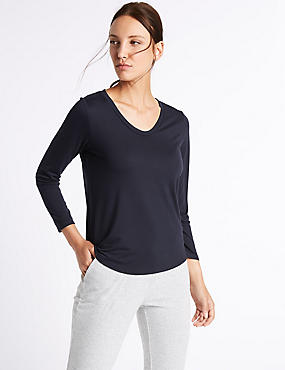 V-Neck 3/4 Sleeve T-Shirt, NAVY, catlanding