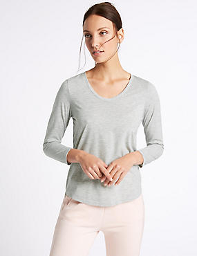 V-Neck 3/4 Sleeve T-Shirt, GREY MARL, catlanding