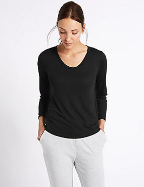 Scoop Neck 3/4 Sleeve T-Shirt, BLACK, catlanding