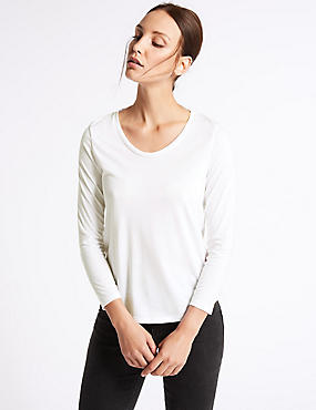 Scoop Neck 3/4 Sleeve T-Shirt, WHITE, catlanding