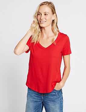 Zuiver katoenen T-shirt met korte mouwen en V-hals, FEL ROOD, catlanding