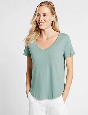 Pure Cotton V-Neck Short Sleeve T-Shirt, DUSTY BLUE, catlanding