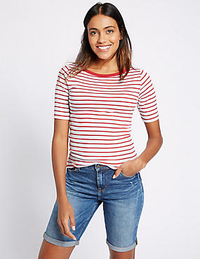 Pure Cotton Striped Half Sleeve T-Shirt, RED MIX, catlanding