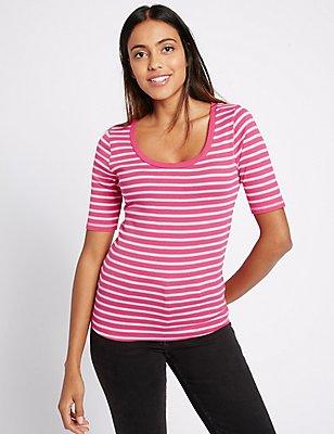 Pure Cotton Striped Half Sleeve T-Shirt, ORANGE MIX, catlanding