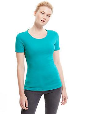 Pure Cotton Crew Neck Short Sleeve T-Shirt, JADE, catlanding