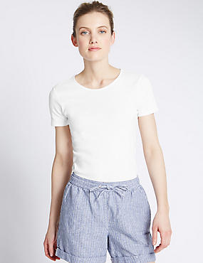 Pure Cotton Crew Neck Short Sleeve T-Shirt, WHITE, catlanding